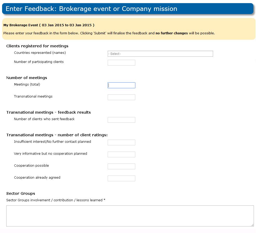 Managing Event Feedback – Event Feedback Form